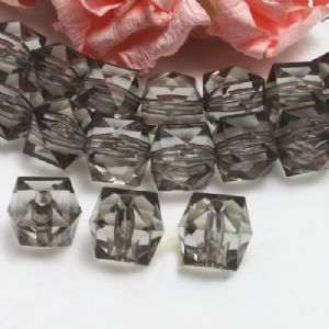 Beads, Imitation Crystal beads, Acrylic, grey, Faceted Cubes, 12mm x 12mm x 12mm, 15g, 20 Beads, (SLZ0553)